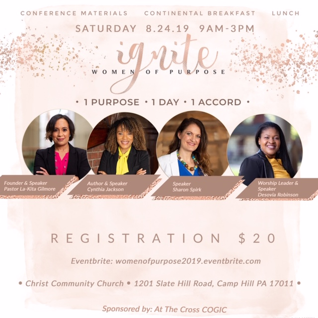 Learn from incredible speakers on topics like: - Using the weapon of worship to overcome pain & traumaLiving on Purpose while in ProcessHow to make your dreams a reality