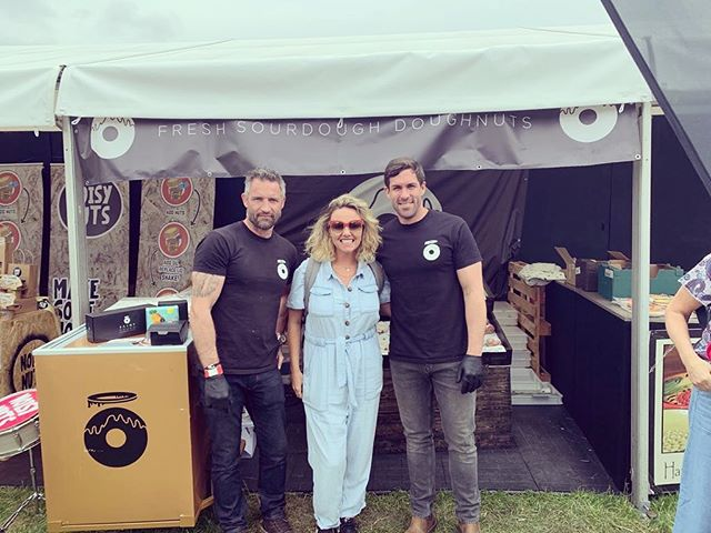 The Team loved meeting you today @charlie_brooks_xx and we're glad you loved our doughnuts! #foodiefest #saintdough #syonpark