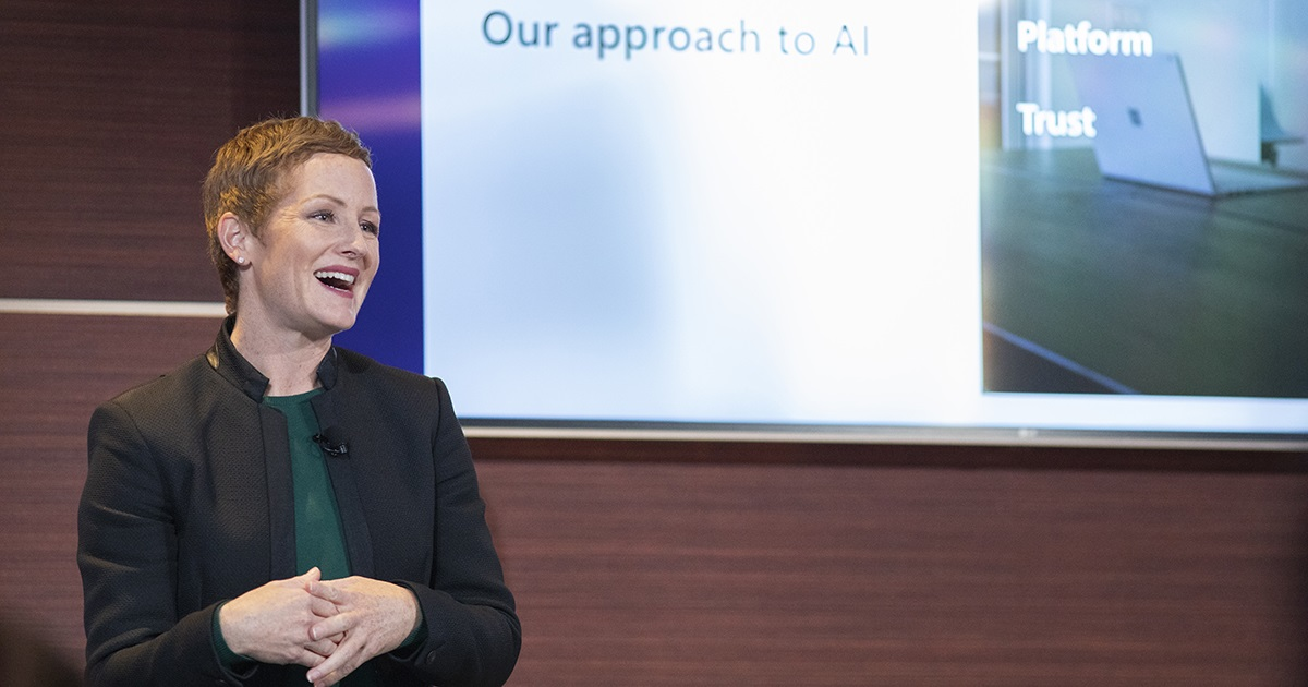 Julia White, Corporate Vice President, Microsoft Azure Marketing, speaks at the    Conversations on AI event    in San Francisco. Photo by John Brecher for Microsoft