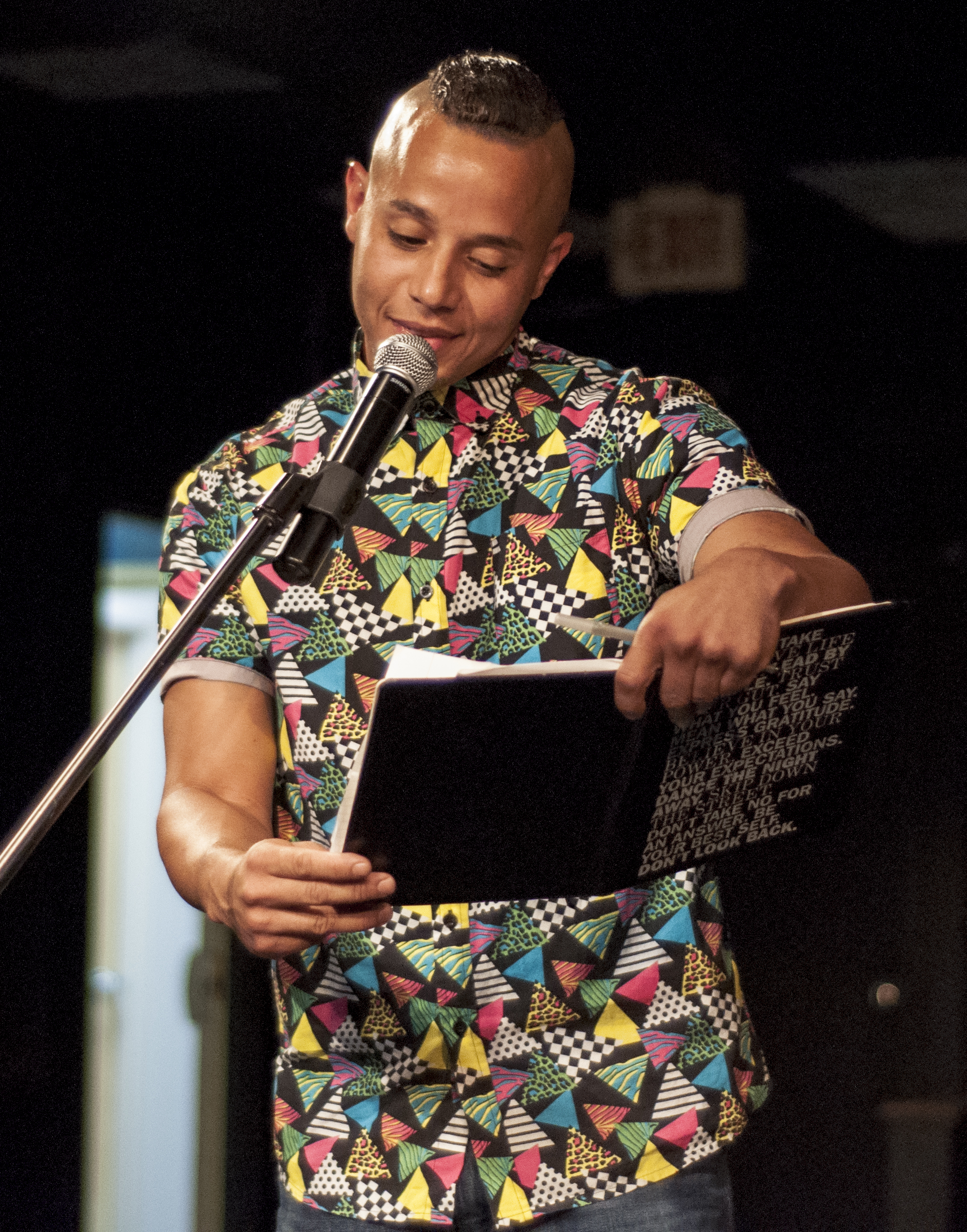 August 2, 2019 Higher Purpose Opening Reception. Spoken word John Peralta Photo credit Vacant Skye Photography.