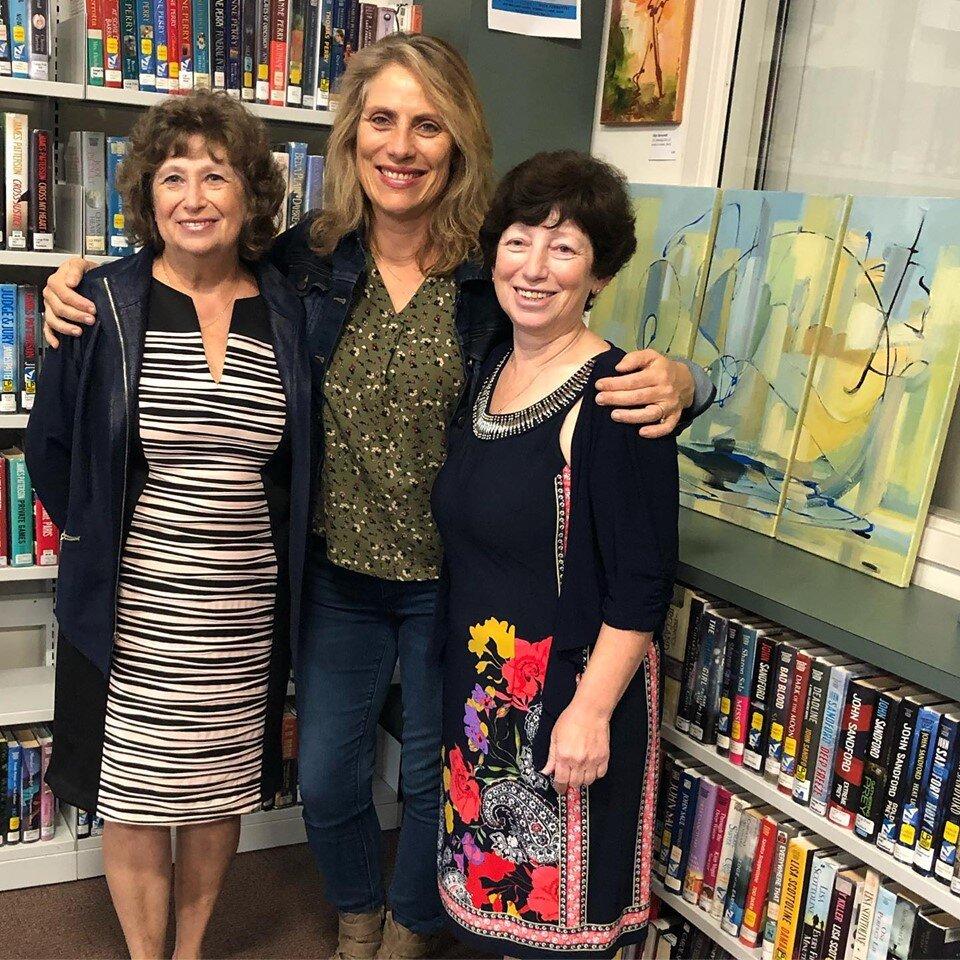 Tamara Wolfson, Emmanuelle Le Gal, and Olga Gernovski, at Gernovski's Artist Reception at the Saugus Library as part of Traveling GALA September 14, 2019.