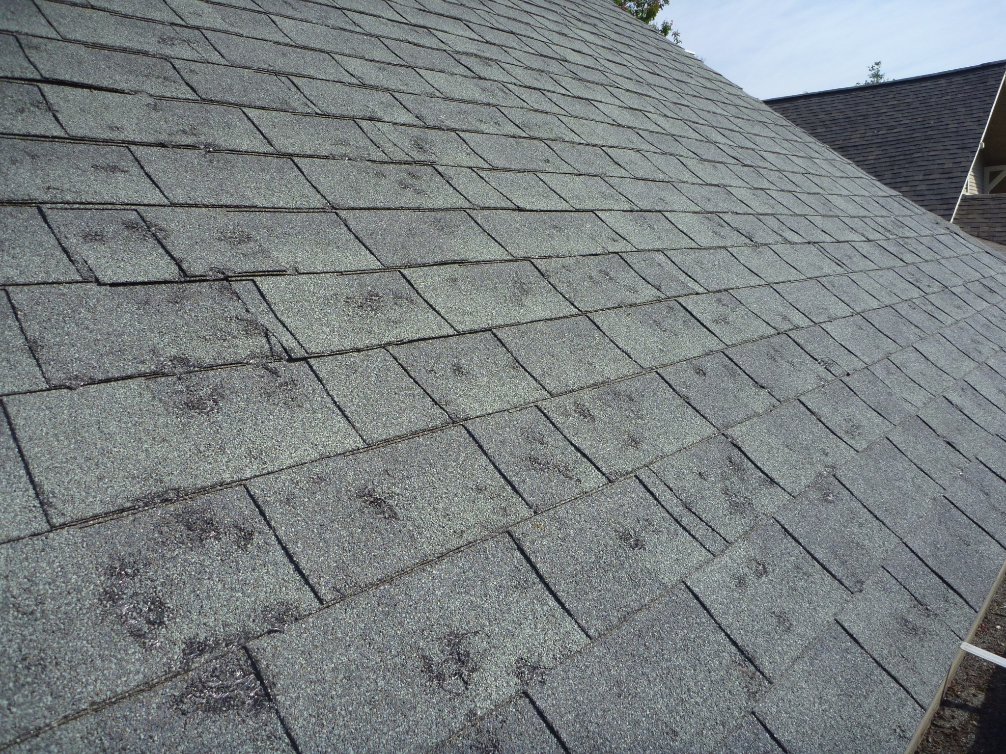 """Hail Damage - Storm damage caused by hail is a serious threat to your roof. Hail damage causes small indentations and holes in your roofs shingles. Once a roof has been damaged by hail, it is not repairable, and there is no such thing as """"a little hail damage"""". If your home gets hail damage you can call Bermudx Roofing Of Spring Texas for a free roof evaluation/inspection and we'll show you the extent of the damage and if necessary guide you through the process of a roof replacement whether its out of pocket or through the insurance."""