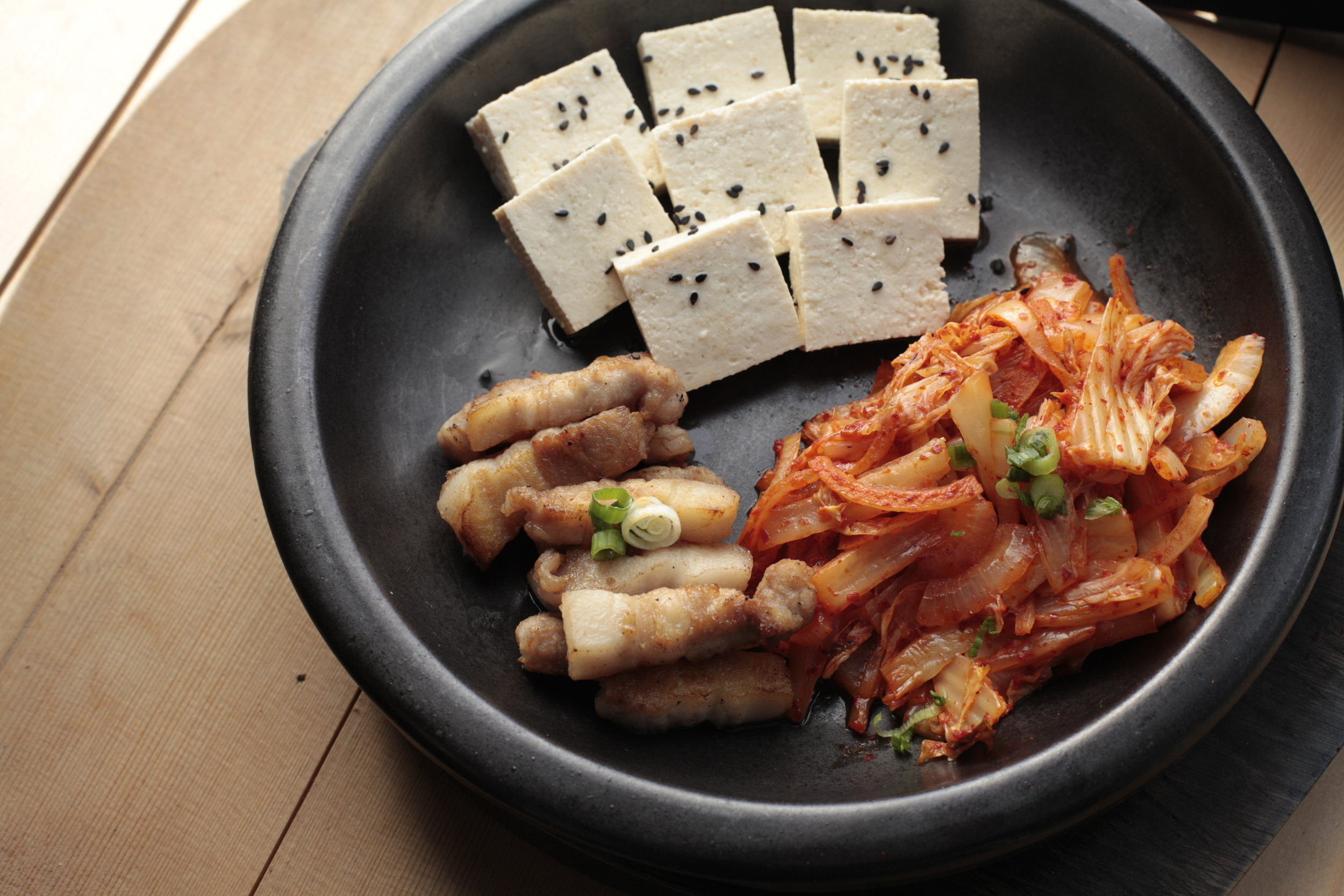 TOFU KIMCHI - Steamed Tofu, Pan-Fried Kimchi