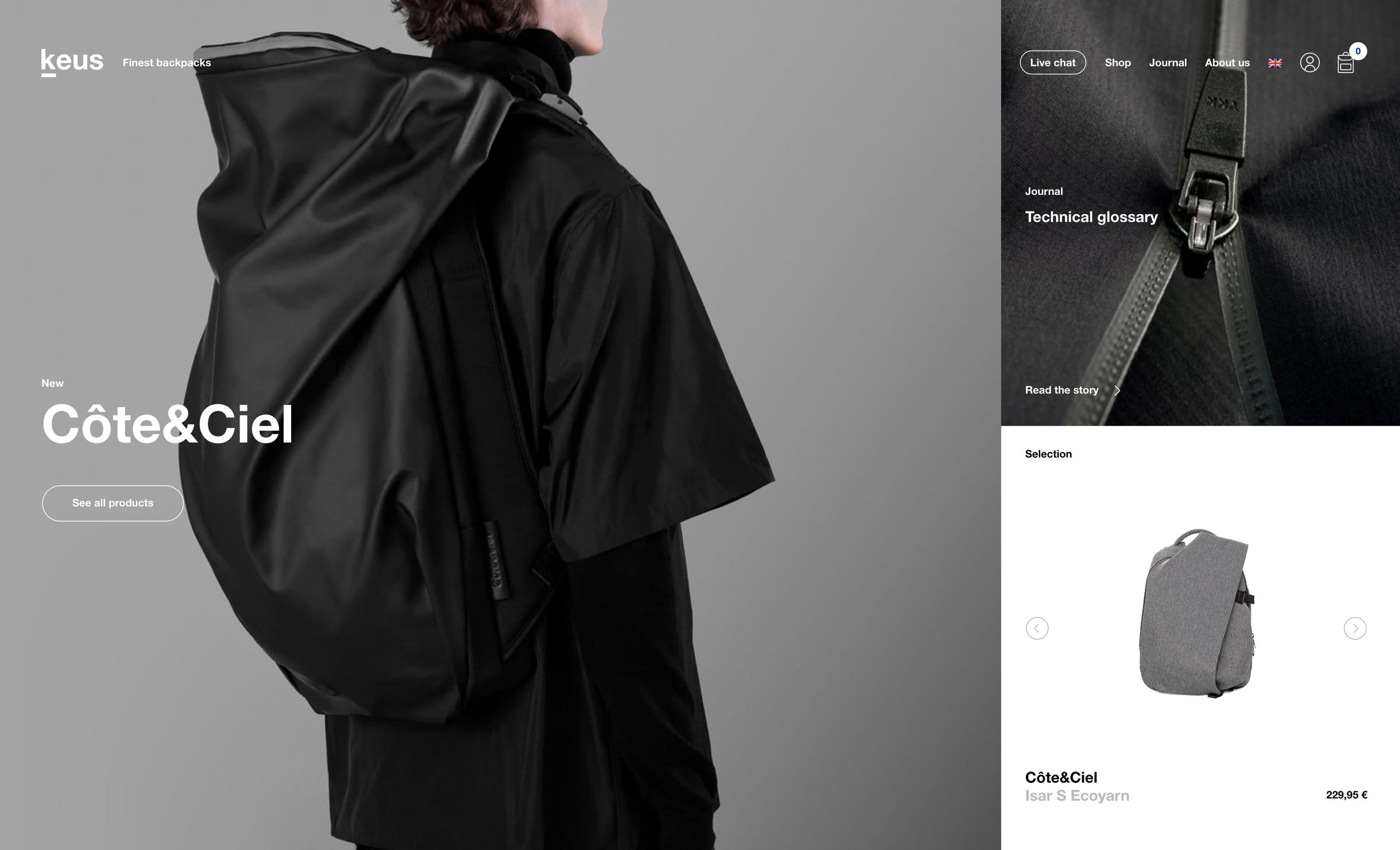 Homepage design from Keus Backpack