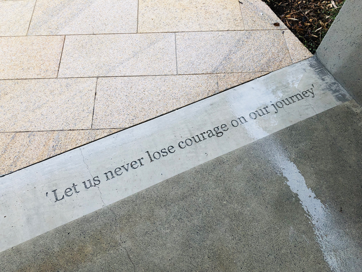 Courage—set in stone—at the Home of Compassion, Island Bay.