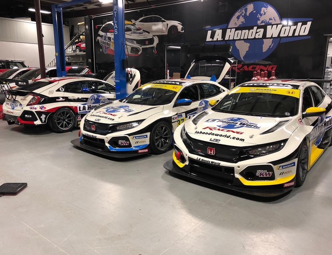L.A. Honda World Racing's Three Honda Civic Type R TCR Race Cars at the LAP Motorsports facility, ready for the 2019 IMSA Michelin Pilot Challenge