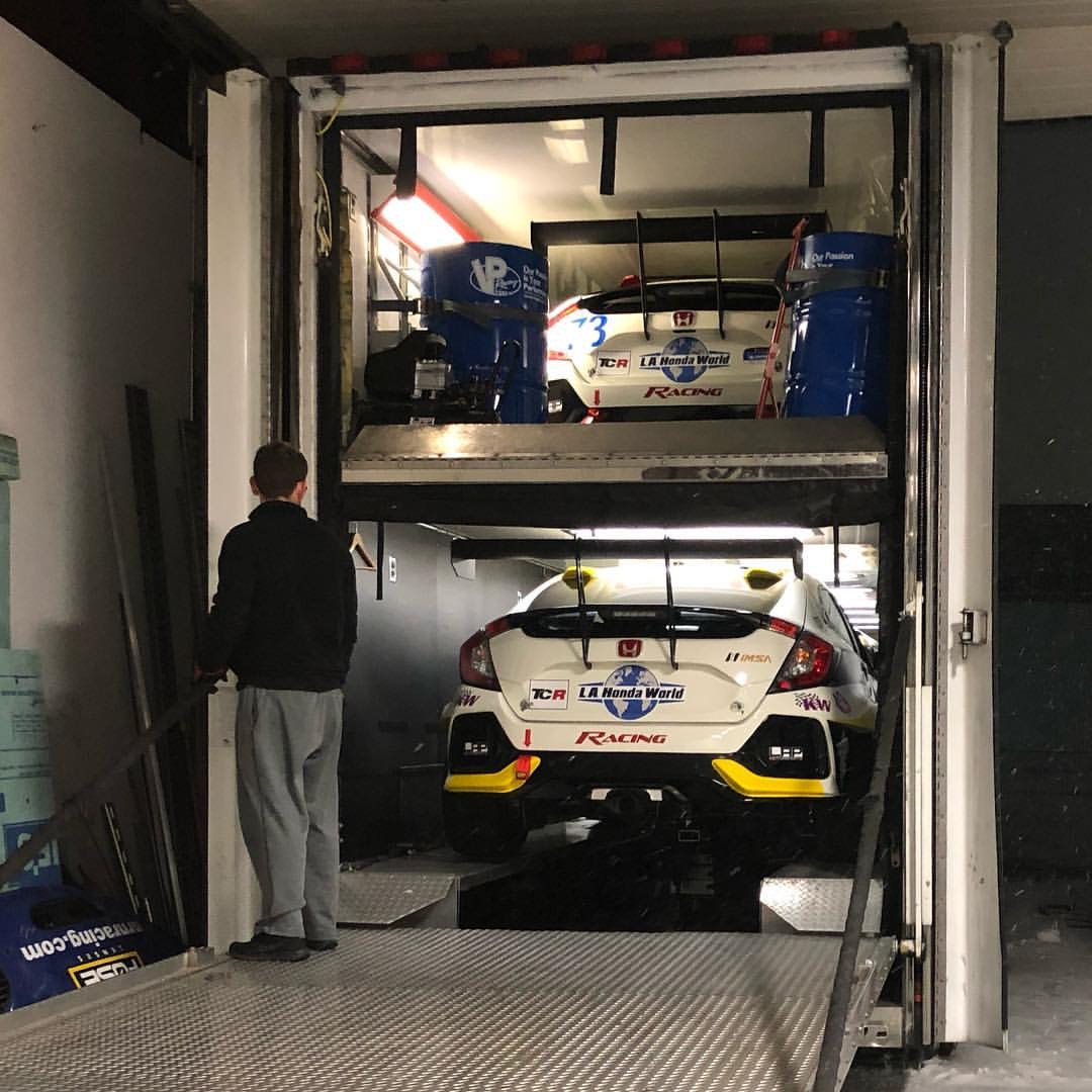 The L.A. Honda World Honda Civic Type R TCR beasts loaded and ready for transport from LAP Motorsports in Indiana to Daytona International Speedway!