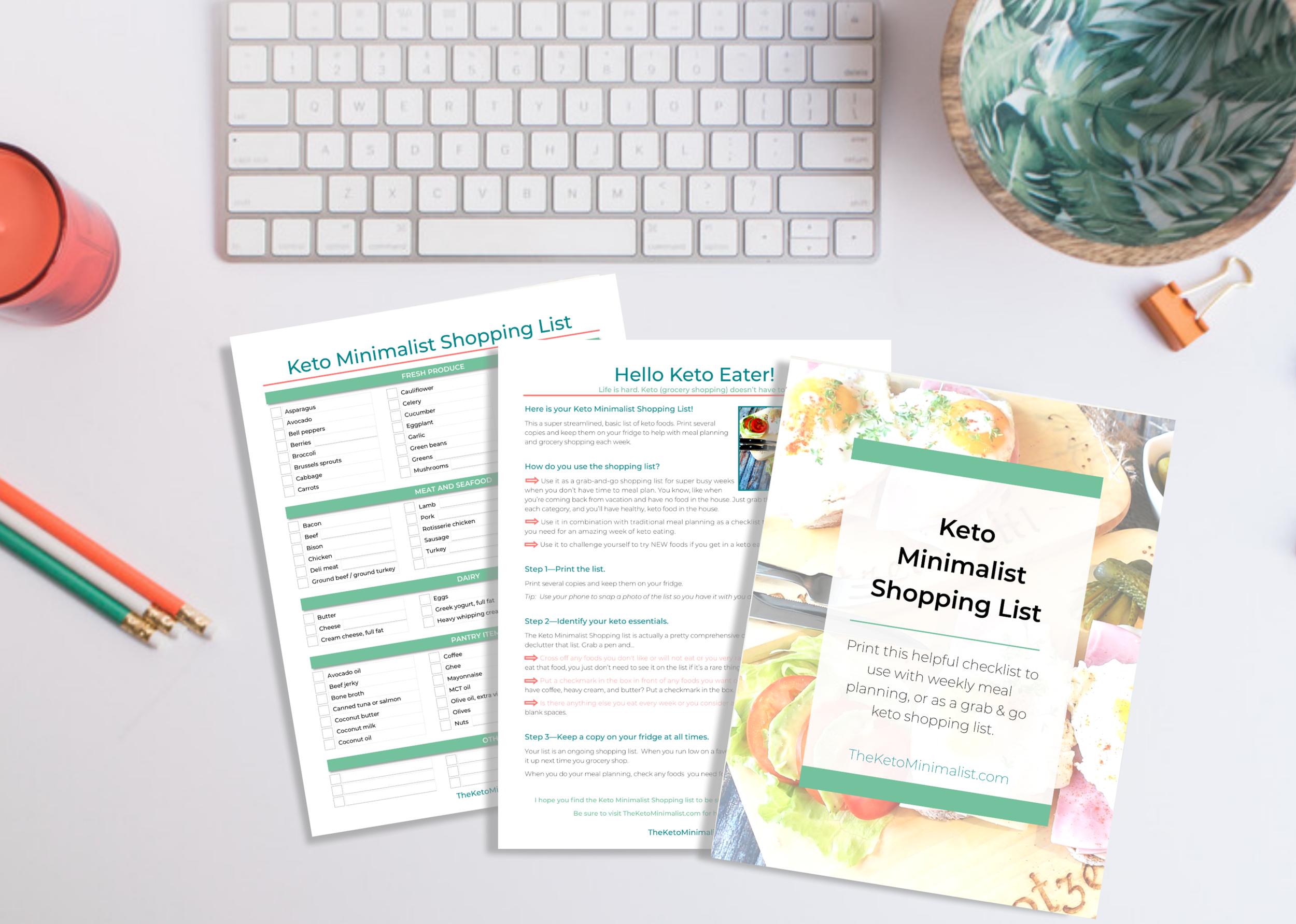 Free keto shopping list PDF