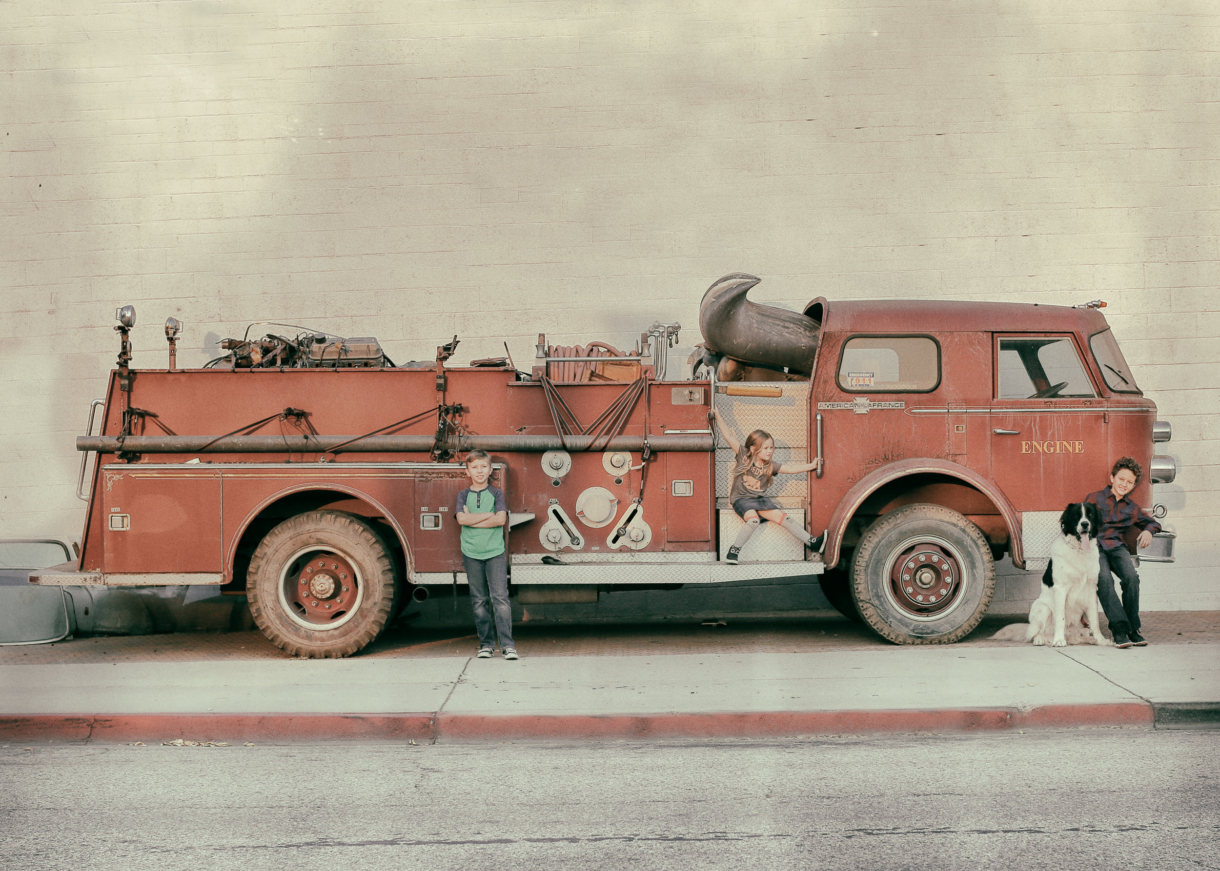 70th Birthday Gift - For my Dad's 70th birthday, I wanted to give him a unique portrait of the grandkids in front of this vintage fire truck. I added a vintage feel when editing, which is not normally my style, but I wanted something unique to hang in my dad's house. After printing on a wood block, it turned out to be a one-of-a-kind birthday present!