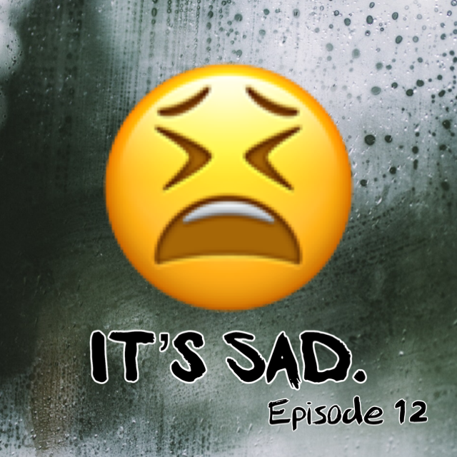 "A rain streaked window with a large distraught face emoji in the center and the words, ""it's sad"" in large black letters beneath."