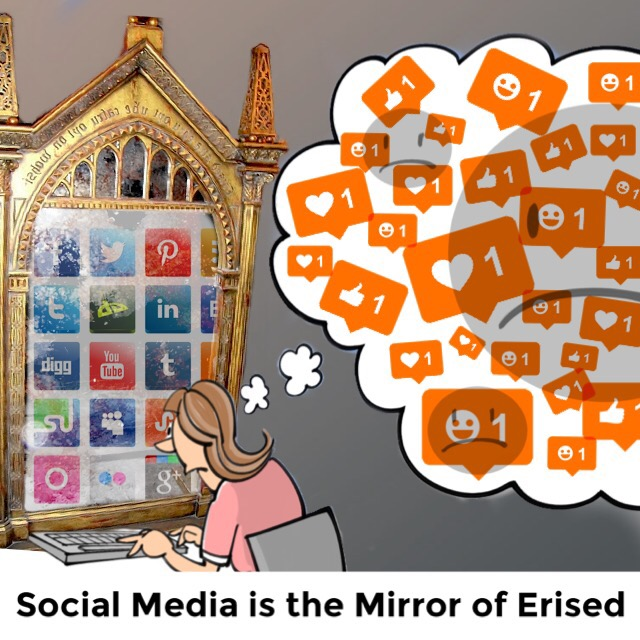 "A cartoon person sits at a desk with their hands on a keyboard. Their computer monitor is the Mirror of Erised, with the logos of social media sites displayed in the reflection. A thought bubble takes up much of the image, and inside it are grey sad faces with social media like icons scattered across them. Text at the bottom of the image reads, ""Social media is the mirror of erised."""