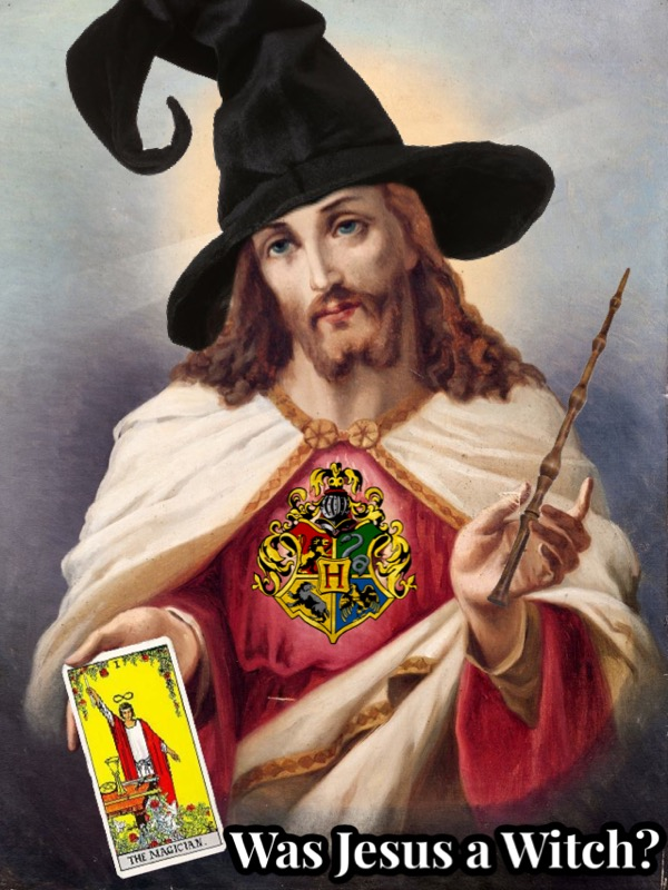 "A renaissance-style painting of Jesus from the waist up. In one hand he holds the tarot card the Magician, and in the other, the elder wand. He wears a pointed witch hat on his head. The bottom right of image has the text, ""was Jesus a witch?"""