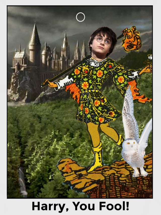 "A variation on the traditional Rider-Waite tarot card for the Fool, with Harry Potter's face replacing the original face, and Hedwig replacing the dog. The background has been replaced with Hogwarts and it's grounds, though Harry still stands at the precipice of a cliff as in the original card. The bottom of the card reads, ""Harry, you Fool!"""