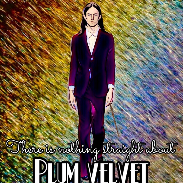 "A white man with long hair, wearing a purple suit and holding a wand in his hand standing in front of a rainbow color streaked background. Across the bottom of the image are the words, ""there is nothing straight about plum velvet."""