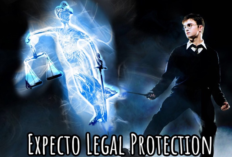 "An image of Harry Potter producing a patronus charm, and the patronus is the image of justice—a woman holding a set of scales and a sword. Across the bottom is the text, ""Expecto Legal Protection."""