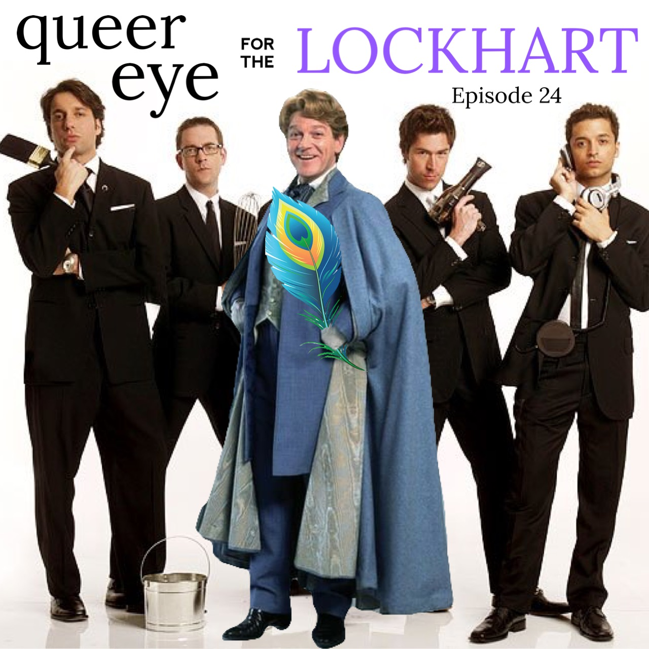 "A promotional shot of the original cast of Queer Eye for the Straight Guy where Carson Kressley has been replaced by Gilderoy Lockhart. Text across the top of the image reads, ""queer eye for the Lockhart."""