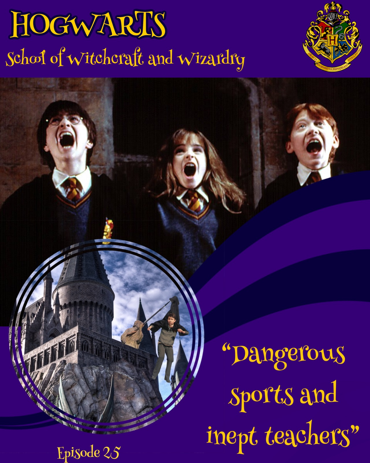 "A brochure for Hogwarts: The background is royal purple and two navy blue swooping stripes divide it near the halfway mark. Across the top it reads ""Hogwarts School of Witchcraft and Wizardry"" with the Hogwarts crest in the right corner. Below this is an image of Harry, Hermione, and Ron looking terrified. Overlaid towards the bottom left of the image is a round image of the exterior of Hogwarts and Neville can be seen dangling by his robes from the spear of a statue. At the bottom right, as if it were a promotional saying, are the words, ""Dangerous sports and inept teachers."""