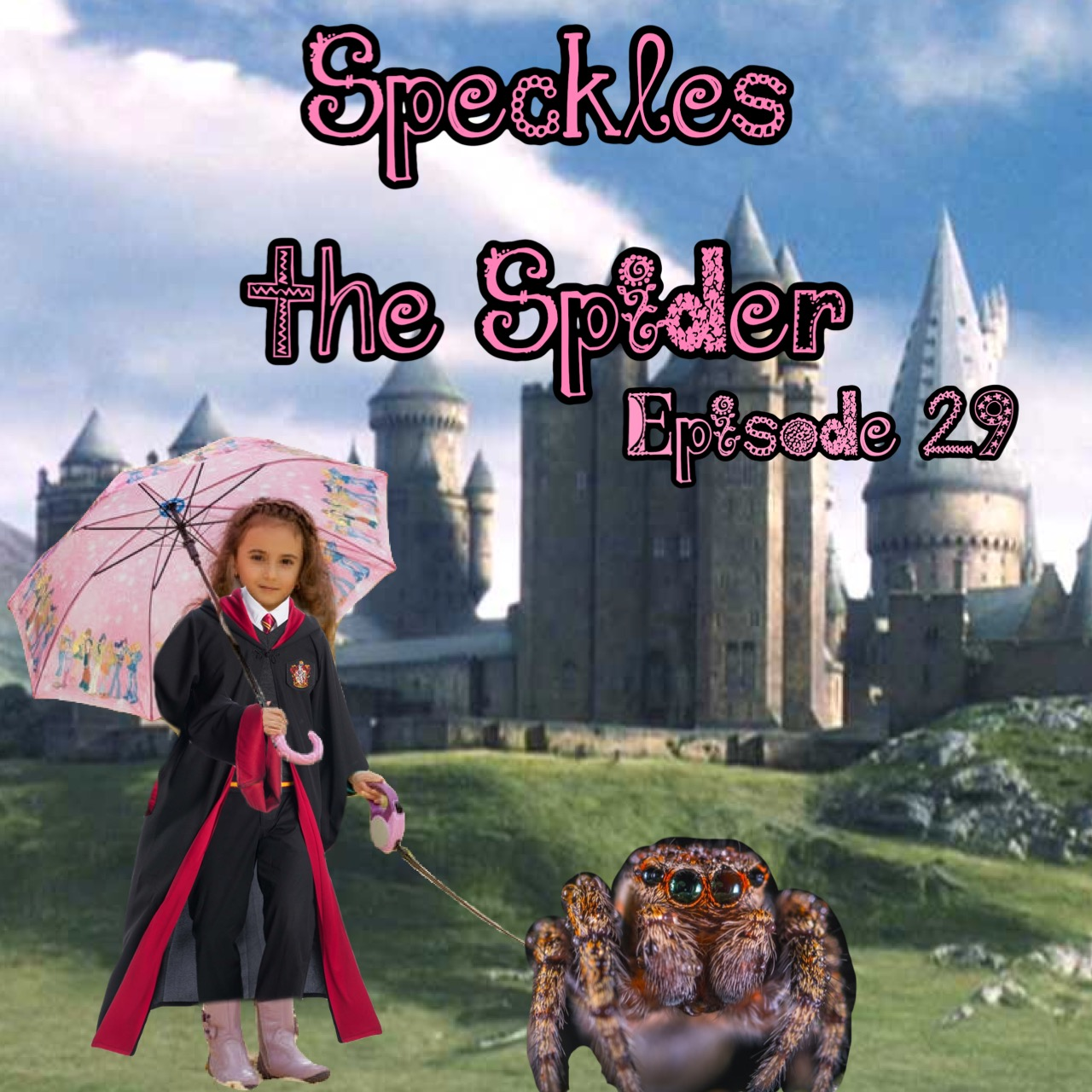 "Hagrid as a young girl stands in front of Hogwarts. She is wearing her Gryffindor robes and pink galoshes, and holds her pink umbrella over her shoulder. In her left hand she holds a pink leash which is connected to an enormous fuzzy spider with large baby seal eyes and a happy face. The image reads, ""Speckles the spider, episode 29."""