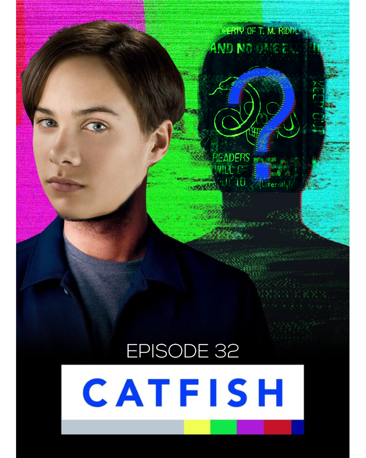 "A promo image for the show Catfish, in which the host stands off center with his shadow prominent behind him and a question mark is over the face of the shadow. The host's head has been replaced with Tom Riddle's, and an image of the diary is superimposed over the shadow's face. The bottom of the image says ""Catfish, Episode 32."""