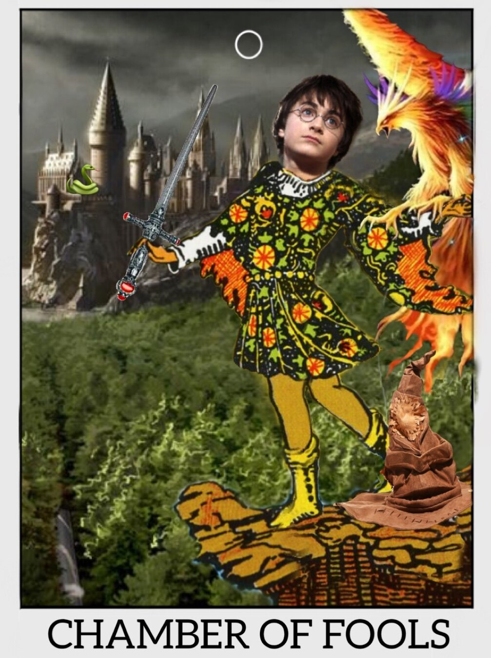 "The Fool card from the Rider Waite tarot deck photoshopped with Harry's face, a phoenix on his arm, the sorting hat at his feet, and the sword of Gryffindor in his hand. Hogwarts is in the background. The bottom reads, ""Chamber of Fools."""