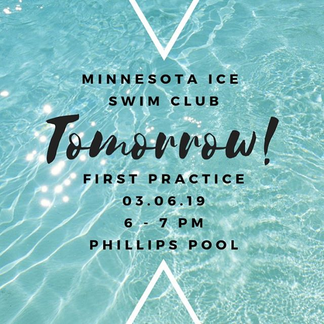 See you for our first practice tomorrow!!! 6-7pm at Phillips Pool! #mniceswimclub #mastersswimming #usms #queerswimming #gayswimteam #firstpractice #swimming