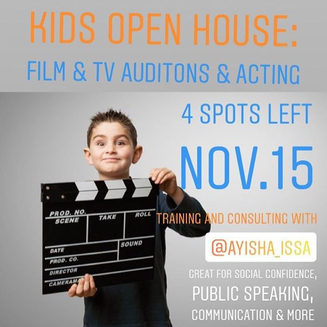 Open to kids & teens who are interested in developing acting skills for film and TV. Whether  the goal is to pursue a professional on screen career or simply to gain some social confidence, public speaking skills and emotional intelligence, this is an excellent opportunity to explore the world of acting.  4 spots remain to get coaching and consulting with Ayisha Issa. An award winning Tv, film and video game actress. Contact us for details! —�—�—�—�—�- #toronto#torontoactor #torontoacting #torontofood #Torontolife #torontoevents #Torontoactivities #Torontokids #torontomoms #torontofitness #torontoraptors #torontolashes