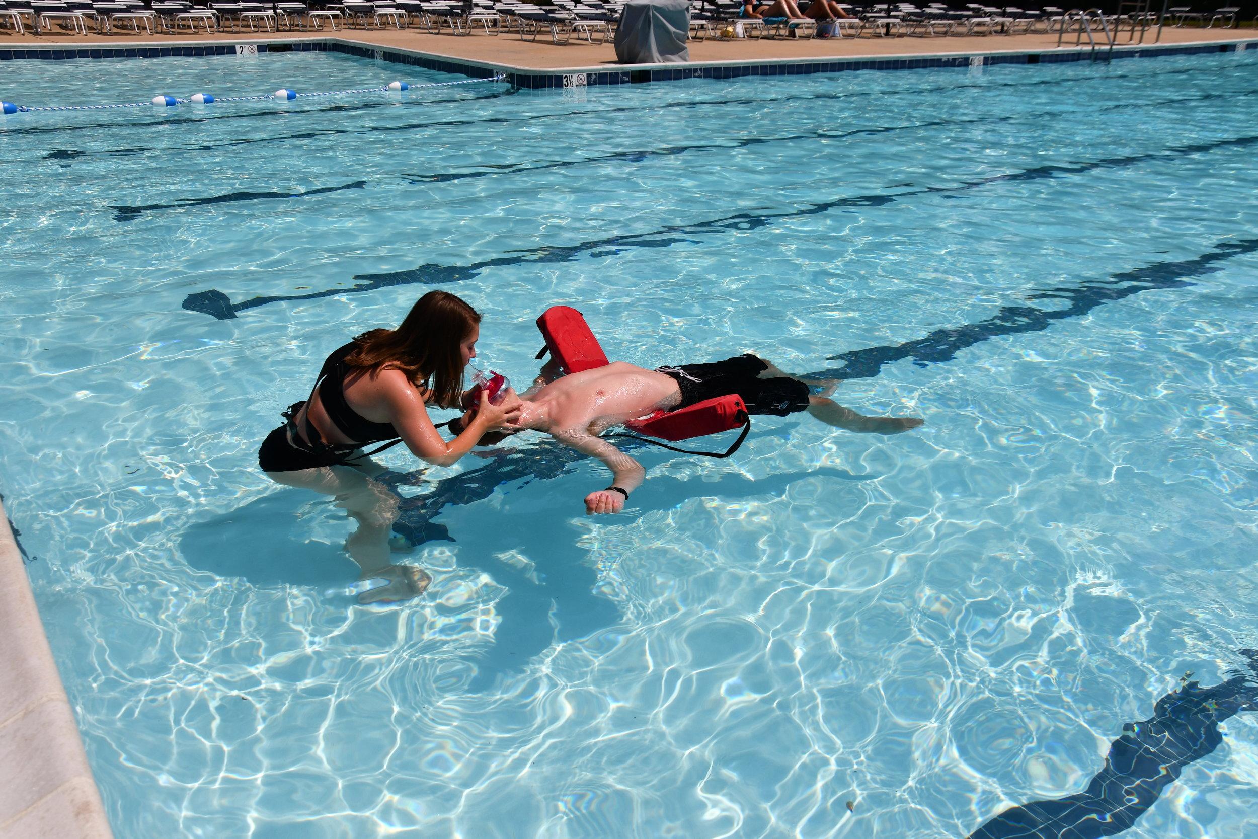 Lifeguards practicing their skills.