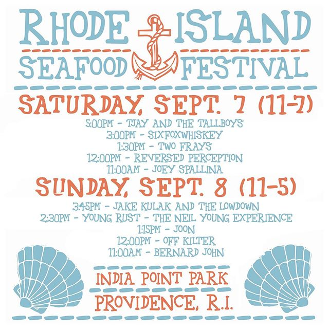 This weekend! @tjayandthetallboys are always psyched to be invited back to play the @riseafoodfestival.  C'mon down and grab yourself some seafood, beers, and an earful of live music from some great regional bands...including us 😎. See you there!
