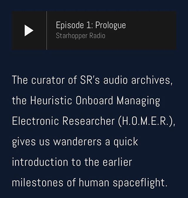 The prologue episode of #StarhopperRadio is here in time for #audiodramasunday! Meet HOMER- the AI who'll be (sort of) guiding our voyage through the future history of known space. Featuring the voice talents of Timber (creator of @cryptpatrol) and Cas (player of Bacchus on @20sapodcast)!