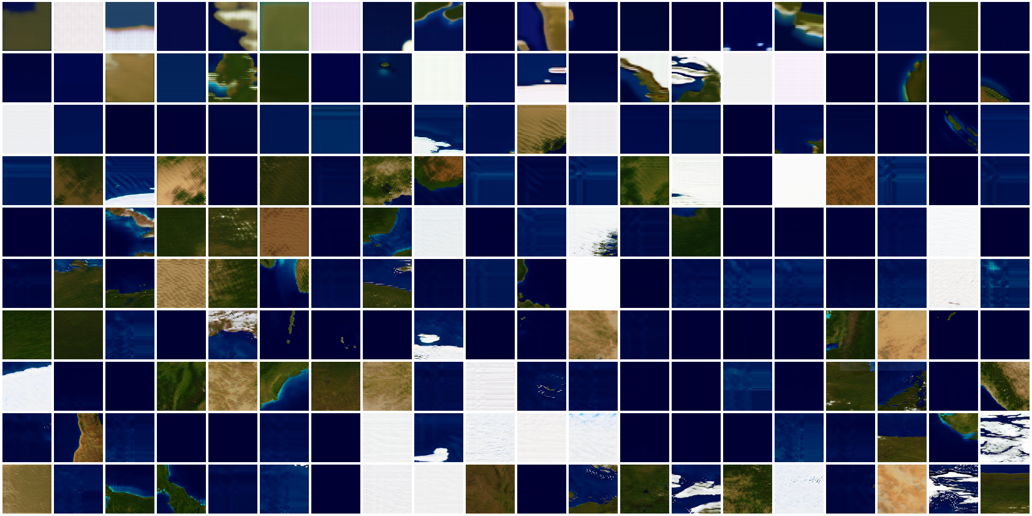 Sample results demonstrating the training process of  Terra Mars  generation 65, with each tile representing the quality of the generated images during one of the 200 epochs of training. In the beginning, the generated images didn't look like Earth at all. But after training with thousands of data examples for hundreds of times, the generator had acquired a good knowledge of Earth geography and was able to create realistic images. A successful neural network model is the result of lengthy iteration of architecture refactoring, data wrangling, hyperparameter tweaking, and model retraining.