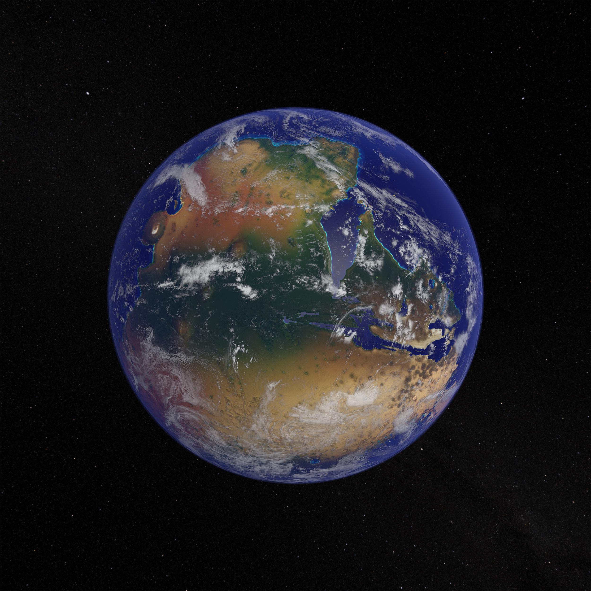 Rendering of the western hemisphere of Terra Mars generation 73