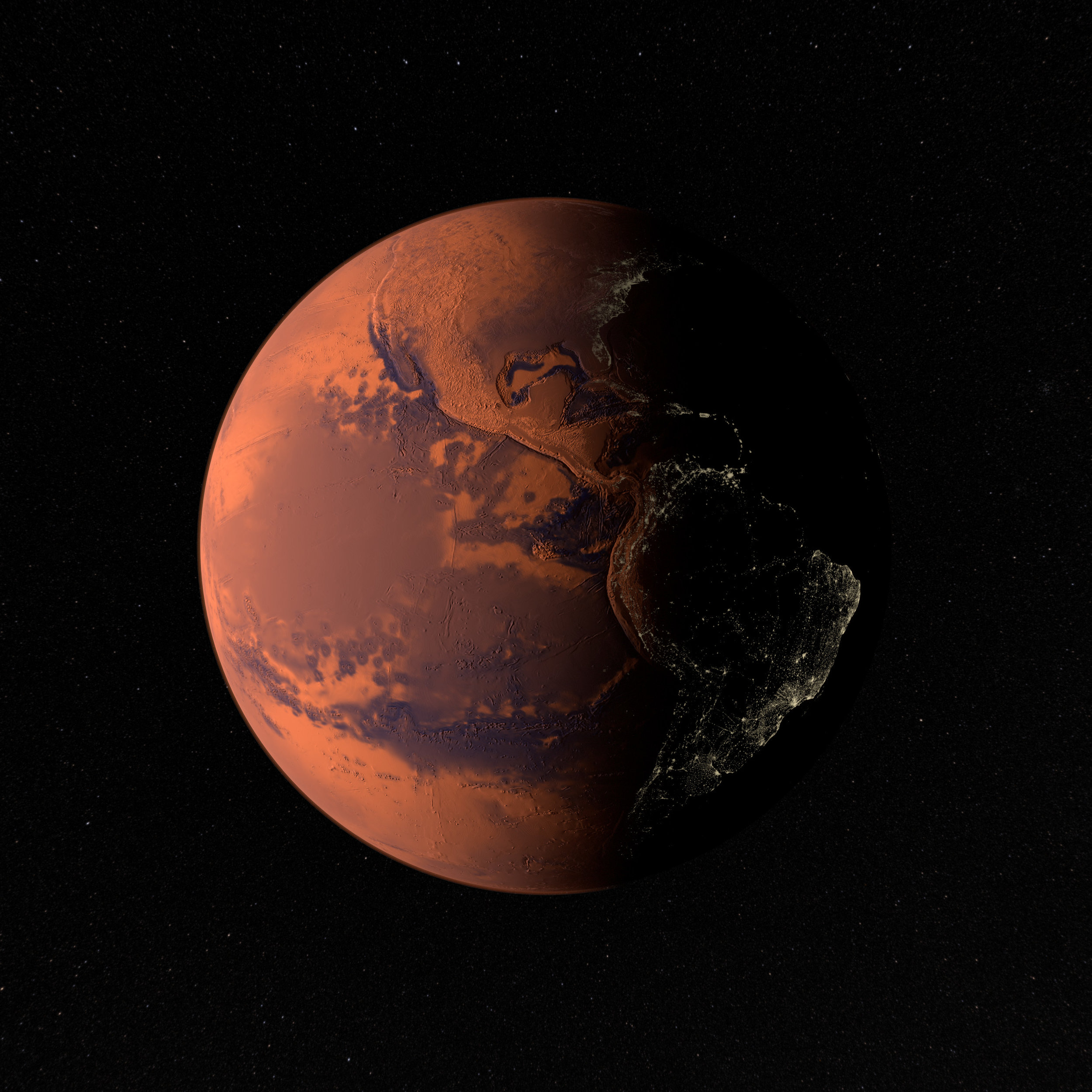 Rendering of the western hemisphere of Martian Earth generation 2