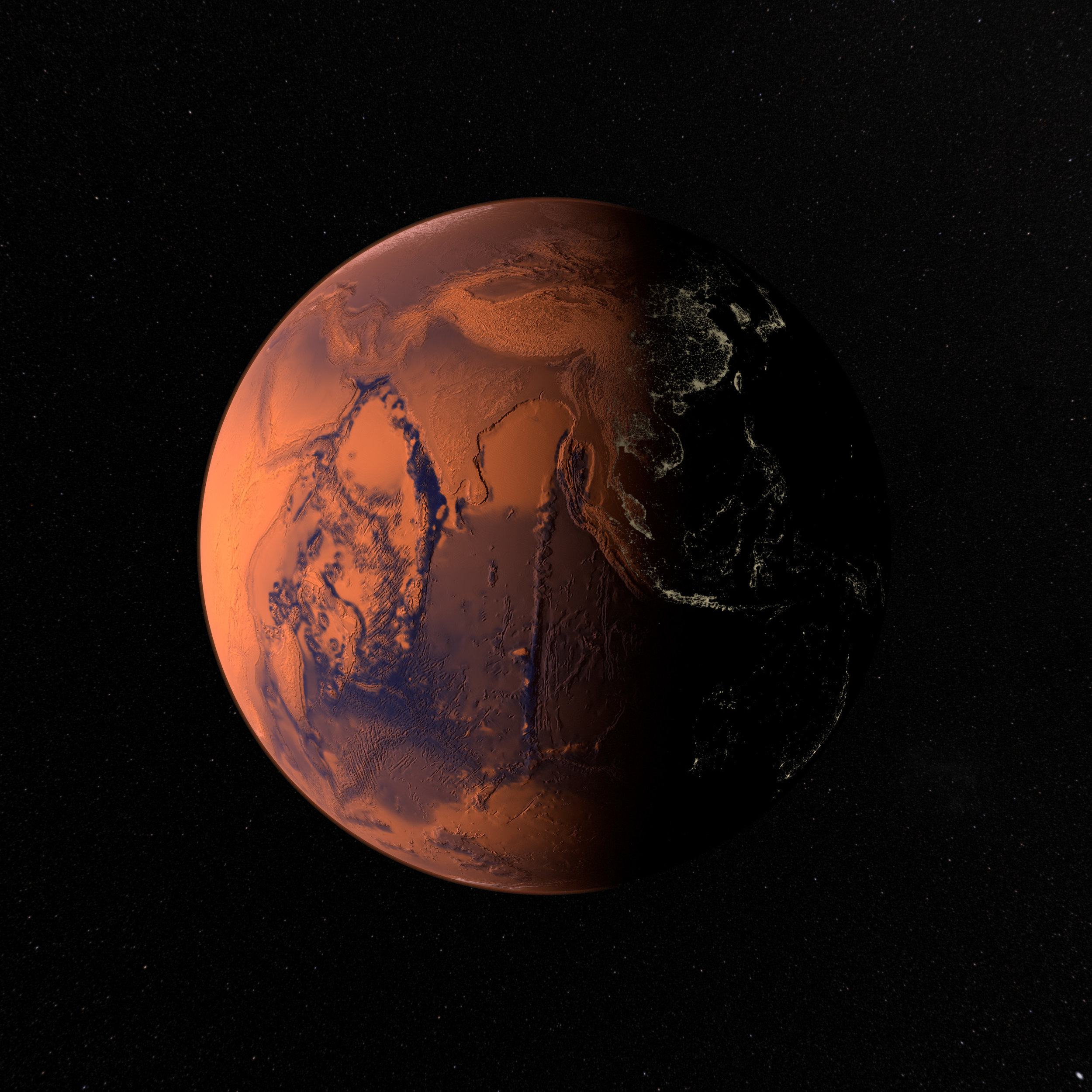 Rendering of the eastern hemisphere of Martian Earth generation 2