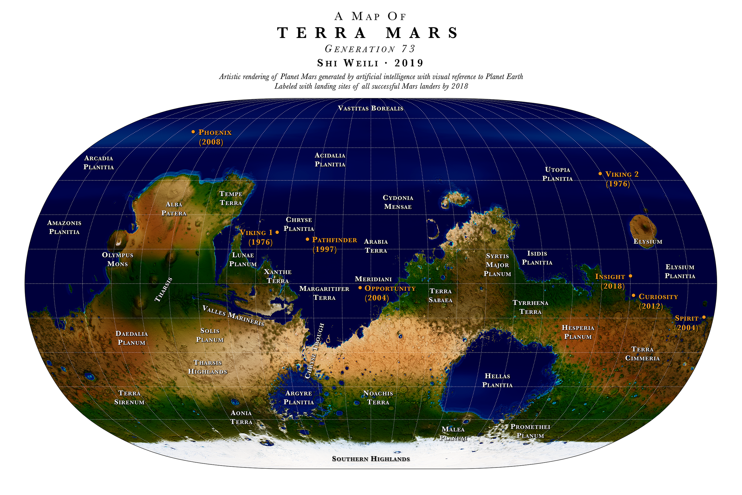 A Map of  Terra Mars  Generation 73  2019. Labeled with landing sites of all successful Mars landers by 2018.