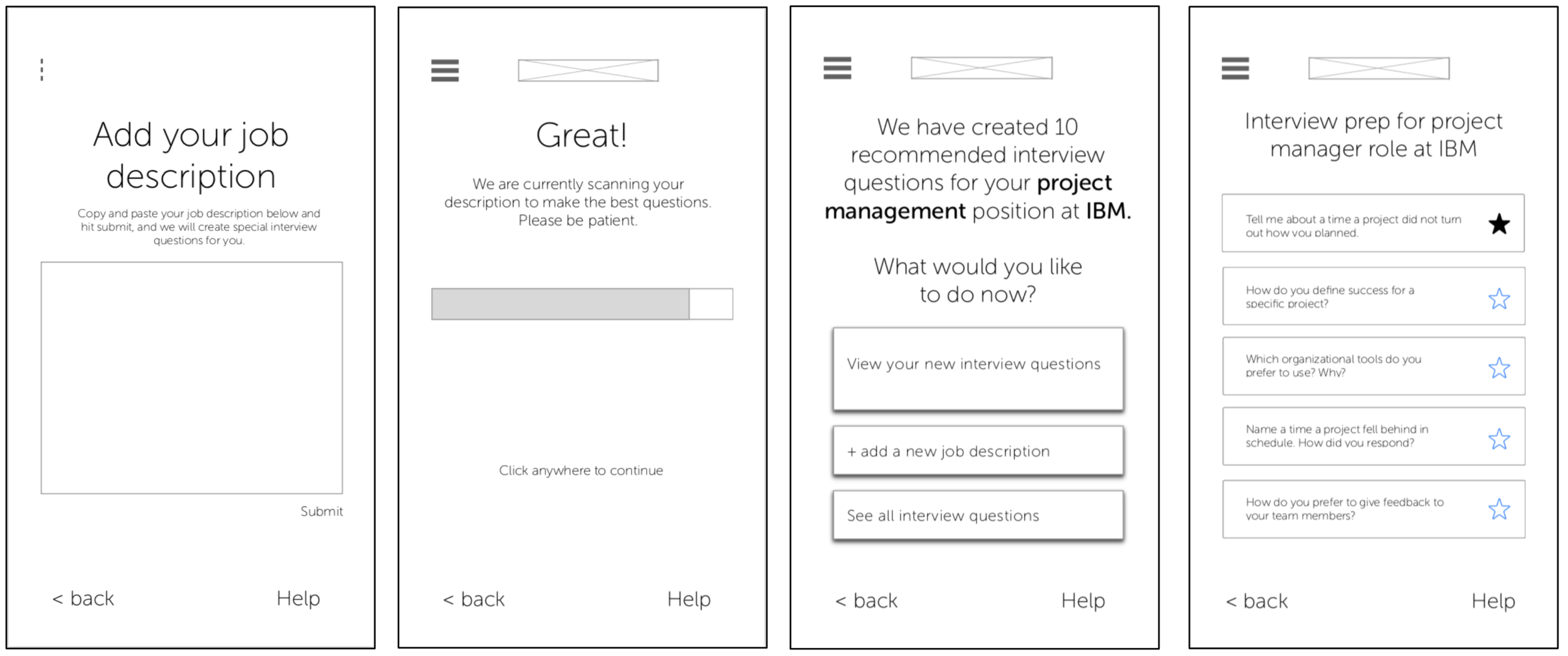 Wireframes on Invision