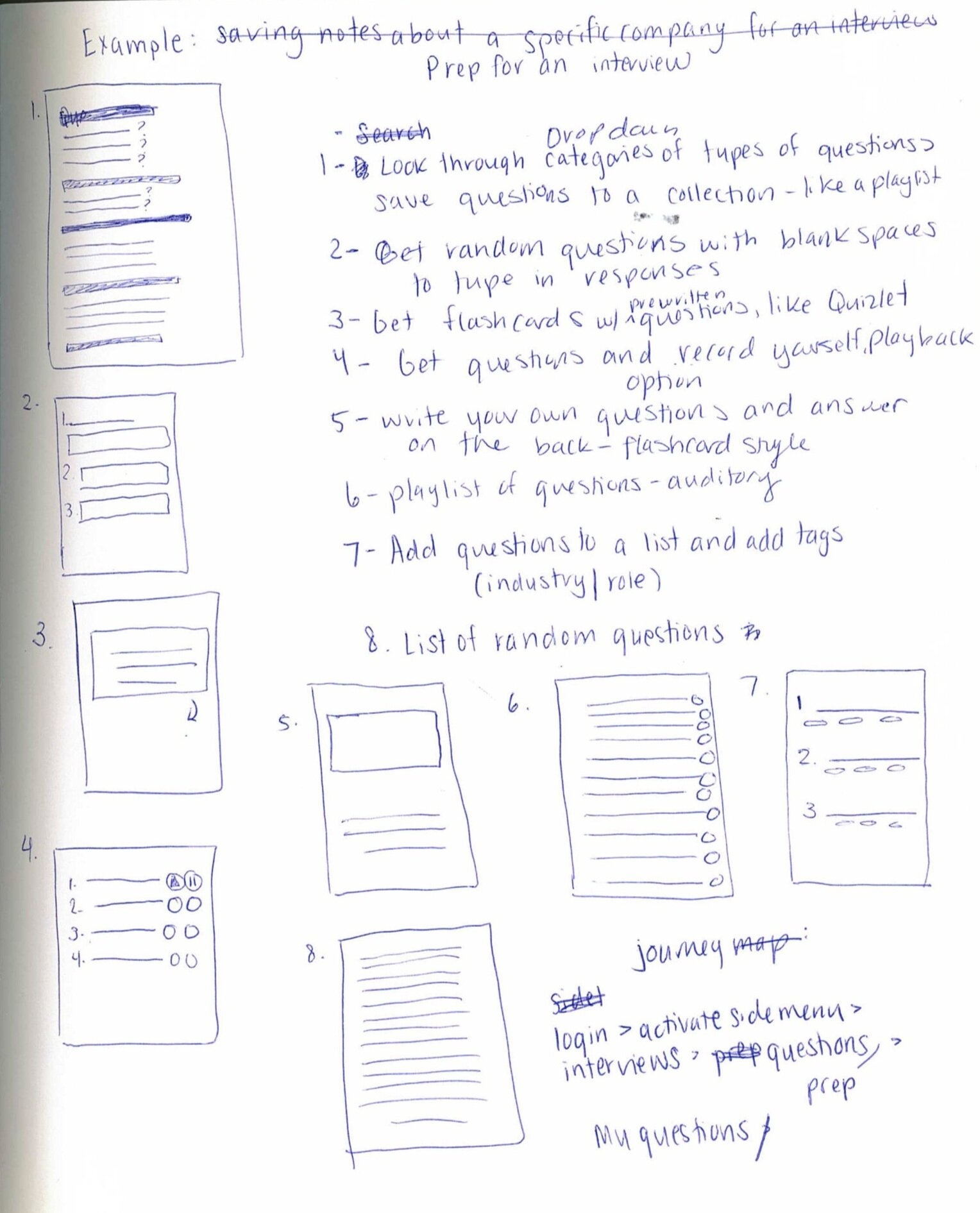 Brainstorming sprint for an app functionality that helps the user prepare for an interview