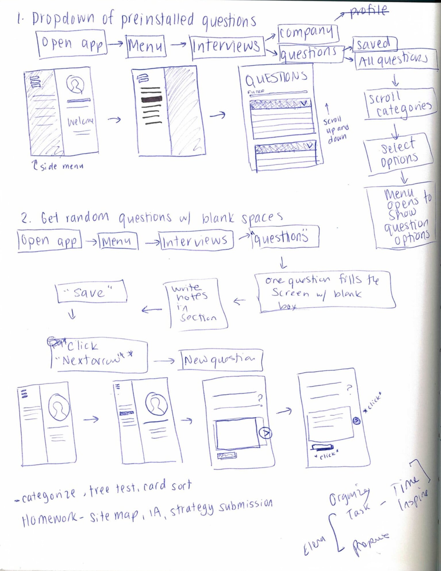 Potential workflow for one of the sprint ideas for an interviewing functionality
