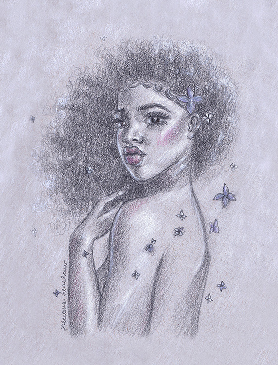 """""""Flor""""   graphite, white charcoal & colored pencil on toned gray paper"""