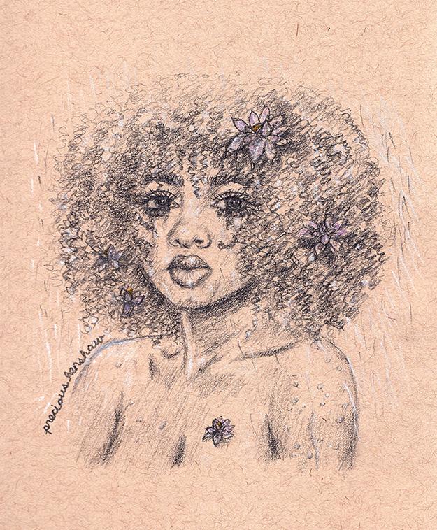 rain   graphite, white charcoal, & colored pencil on toned tan paper