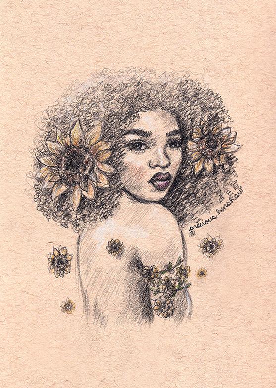 girasol   graphite, white charcoal, & colored pencil on toned tan paper