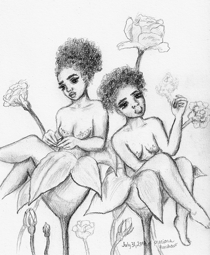 flower nymphs   graphite on paper