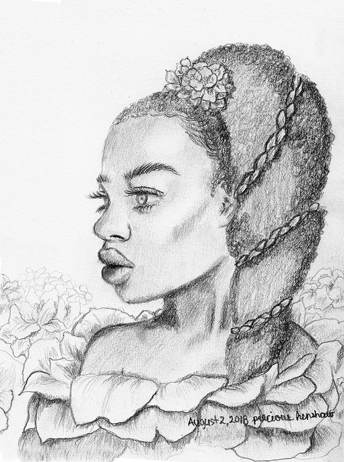 flower nymph   graphite on paper