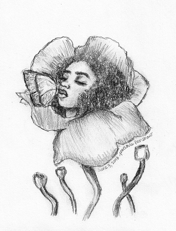 butterfly's kiss   graphite on paper