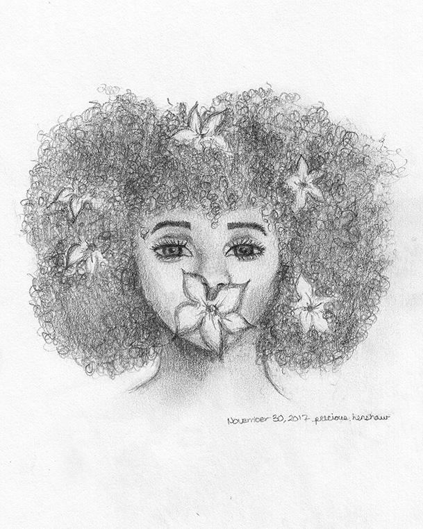 blossom   graphite on paper