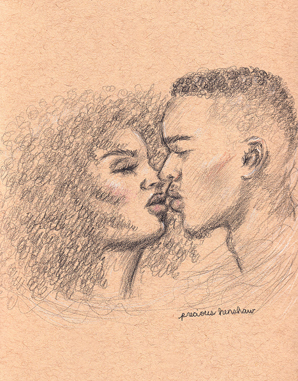 desire's entanglement   graphite, white charcoal, & colored pencil on toned tan paper