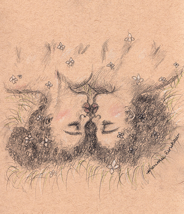 recurring dreams   graphite, white charcoal, & colored pencil on toned tan paper
