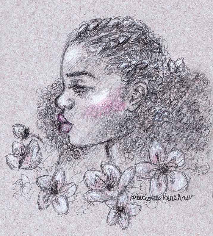 """""""among blossoms""""   graphite, white charcoal & colored pencil on toned gray paper"""