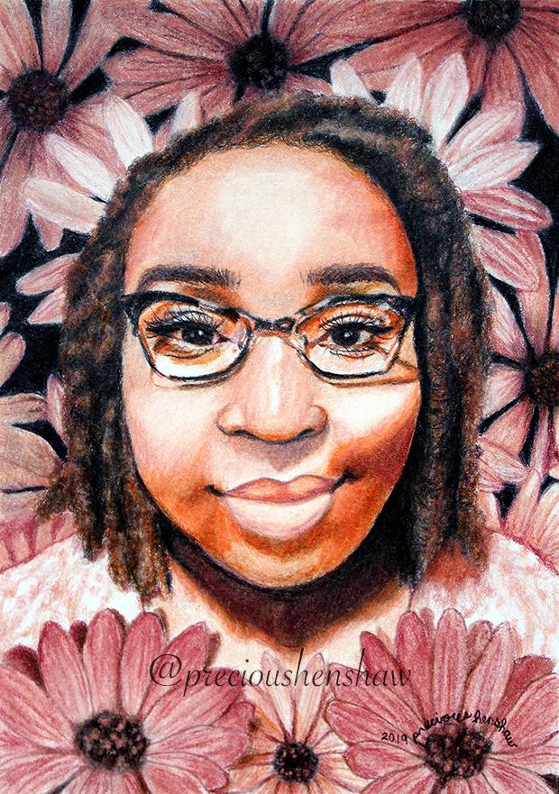 """Portrait of Rochelle"" • colored pencil on paper"