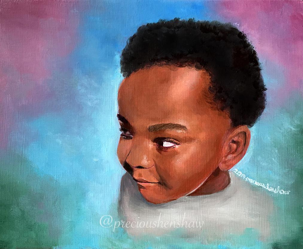 """""""Portrait of Gabriel"""" • oil on wood"""