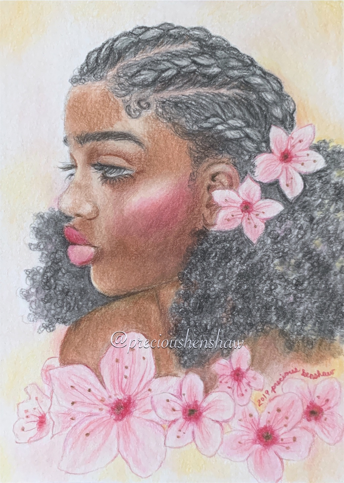 """""""Among Blossoms"""" • colored pencil on paper"""